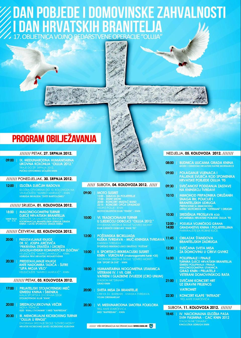 2012 08 05 program obiljezavanja knin
